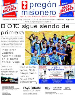 Tapa semanario Pregón Misionero 26/3/2021
