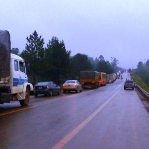 Ruta interrumpida debido al grave accidente