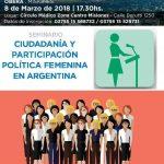 """Seminario gratuito """"Ciudadanía y participación política femenina en Argentina"""""""
