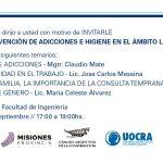Charla de prevención de adicciones, seguridad e higiene en el ámbito laboral