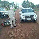 Motociclista sufrió lesiones tras colisionar con un automóvil