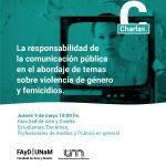 Se brindará una charla sobre abordaje responsable de temas sobre violencia de género y femicidios