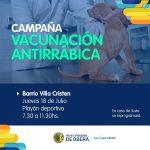 Campaña vacunación antirrábica en los barrios: mañana en Villa Cristen