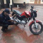 Gracias al rápido accionar de la Policía, se recuperó una motocicleta robada.
