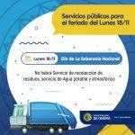 Servicios públicos para el lunes 18