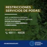 Restricciones en el servicio de podas