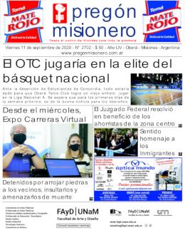 Tapa semanario Pregón Misionero 11/09/2020