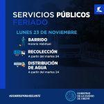 Servicios públicos municipales en el feriado