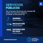 Servicios Públicos en el asueto municipal