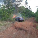 Un vehículo despistó y se incendió en San Martín