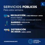 Cronograma de Servicios Públicos para la semana