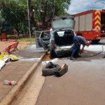 Bomberos de la Policía sofocaron incendio en un vehículo