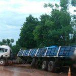 Despiste de un camión en Guaraní dejo sólo daños materiales