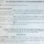 Cierre de la Municipalidad de Alvear por caso positivo de coronavirus