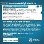 85 casos nuevos de CoVid 19 en Misiones, 10 son de Oberá