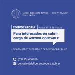 El Concejo Deliberante de Oberá convoca a los interesados para cubrir cargo de Asesor Legal y Asesor Contable