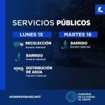Servicios Públicos para el feriado de carnavales