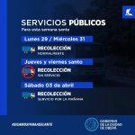 Servicios públicos municipales para Semana Santa