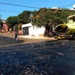 Realizan obras de asfaltado en calle Formosa