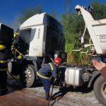 Un camión se incendió parcialmente en Oberá