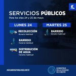 Servicios Públicos municipales para los días 24 y 25 de mayo