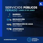 Servicios Públicos para el lunes 21 de junio