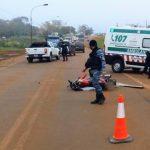 Siniestro vial en la Ruta 14 dejó un motociclista lesionado