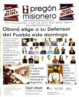 Tapa semanario Pregón Misionero 04/06/2021