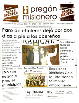 Tapa semanario Pregón Misionero 18/06/2021
