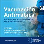 Esta semana la vacunación antirrábica será en Villa Ruff y Cristen
