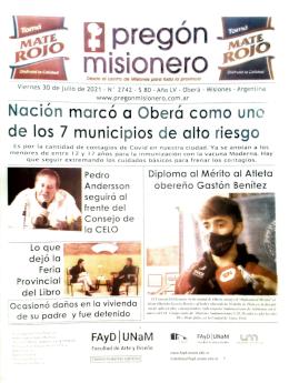 Tapa semanario Pregón Misionero 30/7/2021