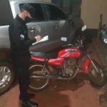 Se recuperó una motocicleta robada meses atrás en Oberá