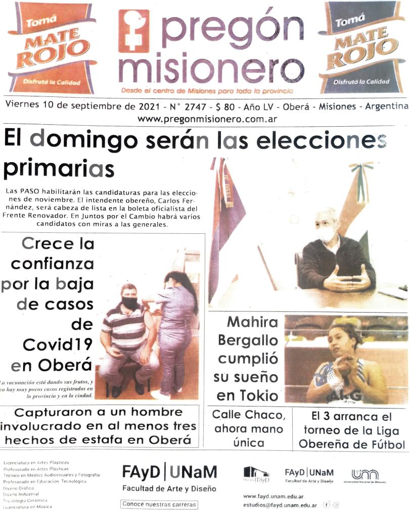Tapa semanario Pregón Misionero 10/9/2021