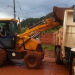 Trabajos y asistencia a damnificados por la tormenta