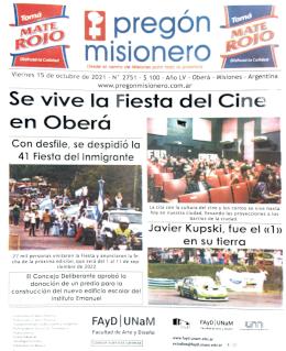 Tapa semanario Pregón Misionero 15/10/2021