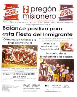 Tapa semanario Pregón Misionero 22/10/2021